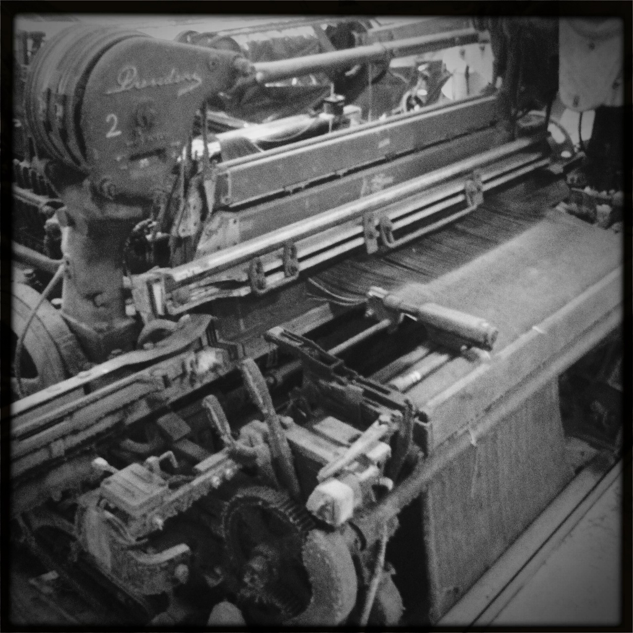 denimlaboratory: retired shuttle loom machines @ Italdenim Great shot of an old shuttle loom. Love this. They sound like old printing presses when they are running. Unbelievably loud. They all used the vintage shuttle looms and moved very slow.