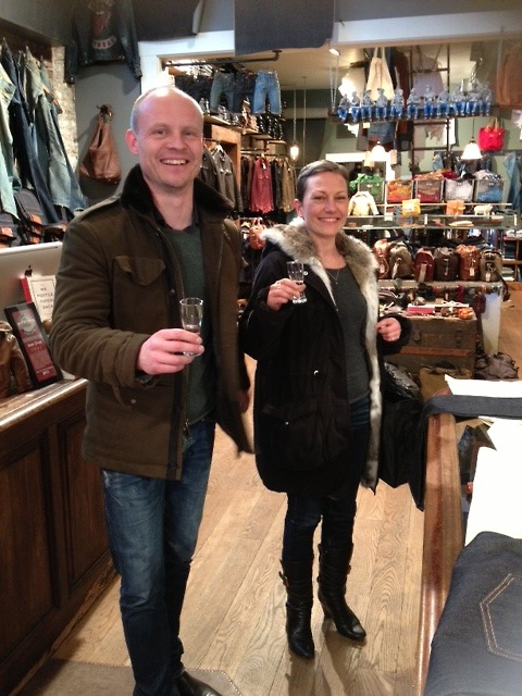 Check out his aged slims! He stopped in for a new pair, we got her trying on jeans AND celebrated the long life of denim with some tequila. Weekends at Jean Shop are awesome. Cheers!
