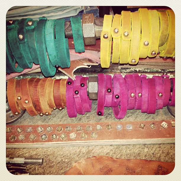 New leather bracelet colors for Spring. Hand made in the shop, in NYC. Fun stuff. #madeinamerica #wearthepig #leathercraft #meatpacking