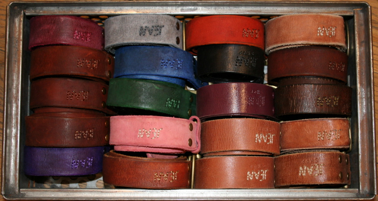 We custom make belts at the shop in a wide variety of colors. This is just a small sample of what we can do. They make great gifts. It's one solid piece of leather. Most other brands have bonded or sewn leather with a nice skin on the top and a cheap skin on the back. We use one piece of leather for the belts nothing bonded/glued or sewn. The snaps are solid brass. All of the buckles are interchangeable.  http://worldjeanshop.com/?product=basic-belt