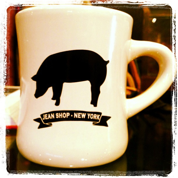 Share your morning coffee with the Jean Shop pig. Just arrived $18 call the shop to get one. 212-366-5326 #wearthepig #jeanshop #coffee #coffeemug #vintage #pig #nyc #meatpacking #jeans