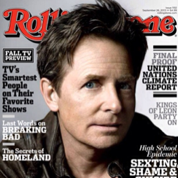 Rolling Stone Cover. Michael J Fox wearing a Jean Shop leather jacket. Credited inside cover NICE #jeanshop #jeans #rollingstonecover #rollingstonemagazine #leathshirt #madeinamerica #madeinusa #fashion #michaeljfox @michaeljfox #nbc #michael j fox show
