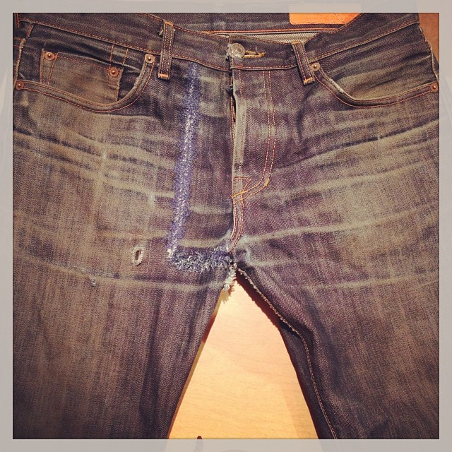 This is the same exact jean that was destroyed and torn into two that we posted yesterday. This is after about 1 hour on the darning machine. #vintage #denim #repair #raw #darning #vintage #selvedgedenim #selvedge #madeinamerica #madeinusa #fashion #jeans #japan #fashion #followme #wellworn #sewing