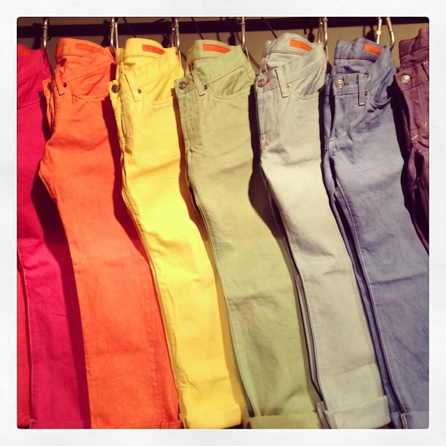 Color is cool. Don't let it scare you. #color #denim #jeanshop #jeans #selvedge #fashion #jeans #madeinamerica #madeinusa #garment dye #handmade #fun #special