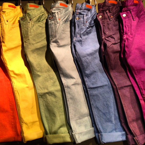 Color for all. #color #fashion #jeans #jeanshop #garmentdye #shotoftheday #nicestuff #selvedge #selvedgedenim #madeinamerica #madeinnyc (at jean shop)