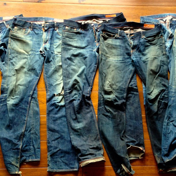 jeanshop: Just got this picture from a customer. Wow what a great shot! He has 7 pair of our jeans. Thanks for sharing. Please pass on any pictures that you have we love to see them. #worn #wellworn #wearthepig #selvedge #denim #denimart #jeanshop #jeanshopnyc #japaneseselvedge
