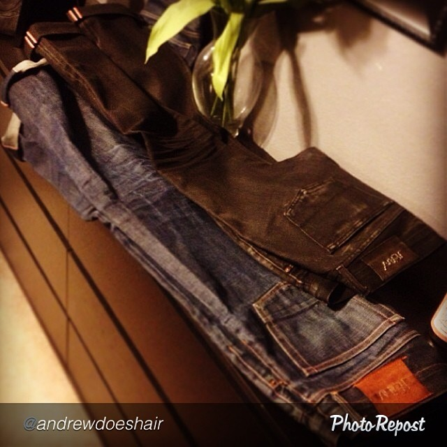 "by @andrewdoeshair ""Dear denim junkies, have you ever checked out @jeanshop? I liked mine so much, I bought a second pair. Extremely well made in the USA, with a chain stitched hem, and Japanese selvedge denim. I'm bummed that the indigo pair here are almost too big for me, as I am slimming down right now. Just as the fades were starting to pop, too… #selvedge #selvedgedenim #jeanshop #wearthepig #japaneseselvedge #madeinusa"" via @PhotoRepost_app"