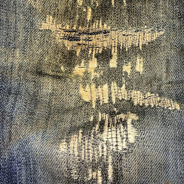 Nice repair job on a very well worn jean. #repair #darning #wellworn #vintage #denim #jeanshopnyc #jeanshopny #jeans #denim #fashion #quality #madeinamerica #madeinusa #madeinnyc