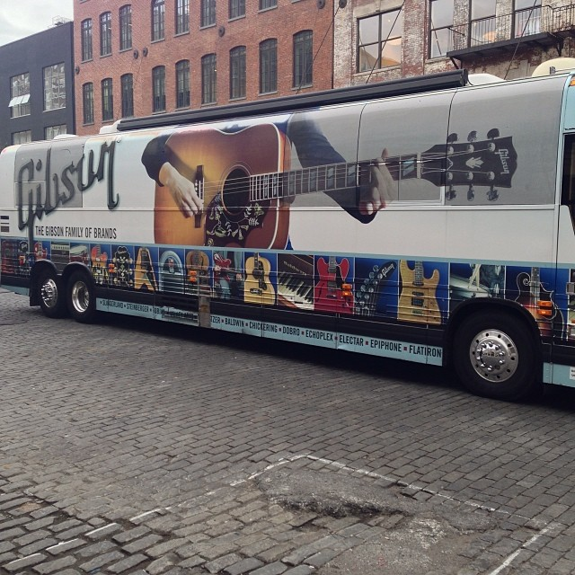 Parked in front of the shop #gibson #music #nyc #meatpacking #jeanshop #littlekidsrock #rightorock