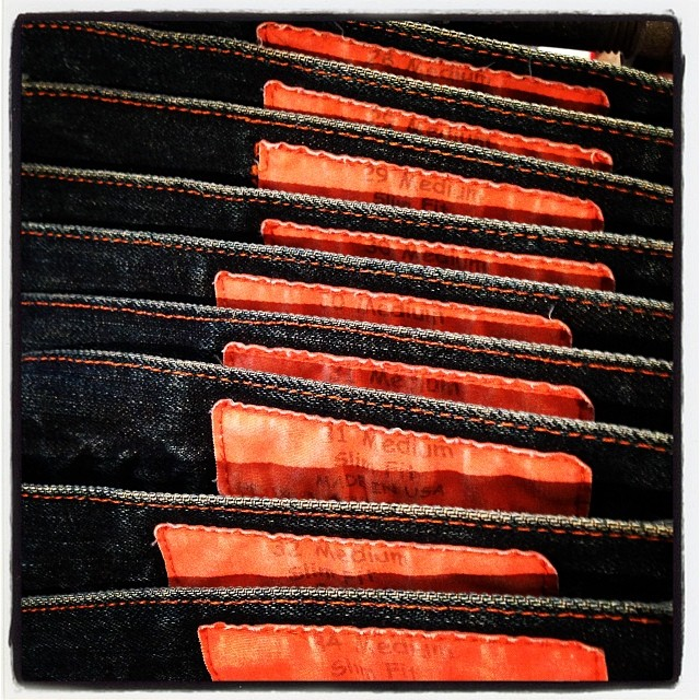 Jean Shop orange label #jeanshop #orangeselvedge #japaneseselvedge #fashion #madeinamerica #madeinusa #denim #jeans #meatpacking #jeanshopnyc
