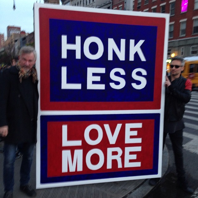 These guys were in front of the store today. Not sure why but why not #nyc #meatpacking #honklesslovemore #signs #quiet #jeanshop #why #love #honk