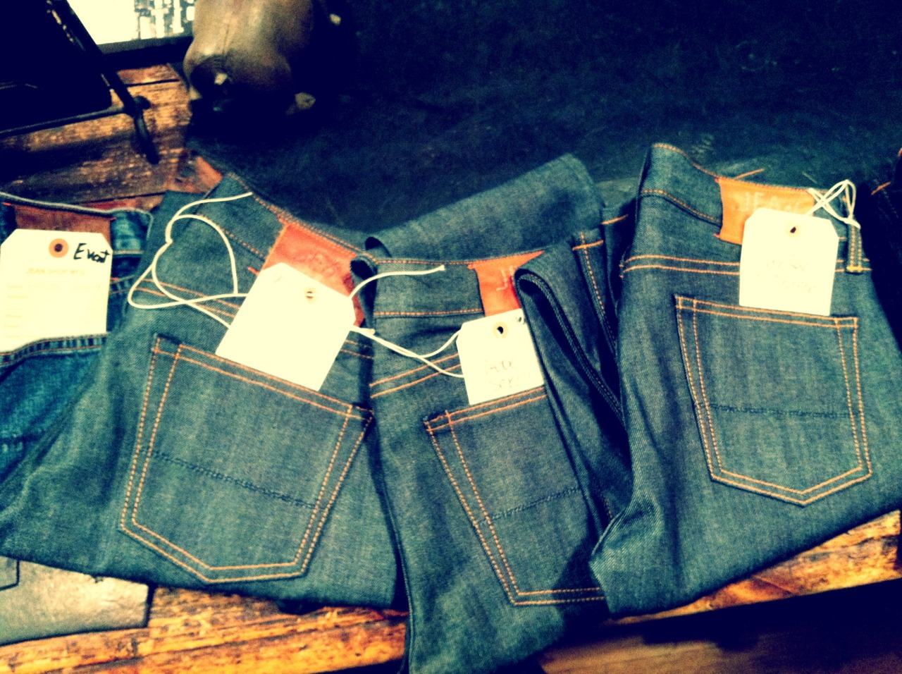Jeans from a corporate event ready to be washed…