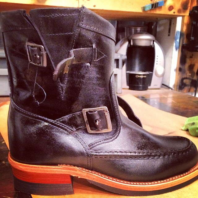 Our collaboration boot hand dyed in black in the shop. It's amazing. Call the shop for yours 212-366-5326 or email info@worldjeanshop.com #chippewa #jeanshop #footwear #fashion #originalchippewa #quality #madeinusa #leathercraft #leather