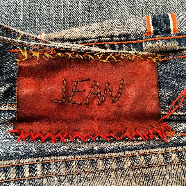 Nice repair #jeans #jeanshop #denim #selvedge #denimhunters #rawdenim #selvedge #leathercraft #leather #wellworn #worn #vintage