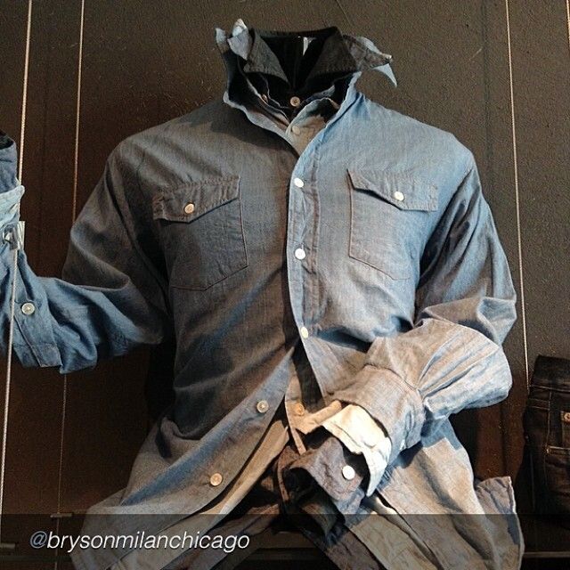 "by @brysonmilanchicago ""Spring & Summer must have! Denim shirt !! BRYSON MILAN 1409 N Ashland Ave. 312-667-4664"""