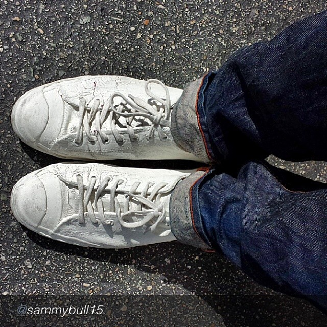 "by @sammybull15 ""Margiela paired with Jean Shop…"" #jeanshop #jeans #denim #footwear #fashion #shoes #selvedge #madeinusa #customer #margiela"
