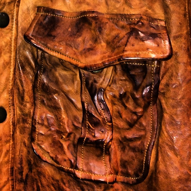 Love leather. Take a look at this #beautiful distressed shirt jacket #Jean Shop #madeinusa #handmade #loveleather #leather #leathercraft #amazing #jeans #denim