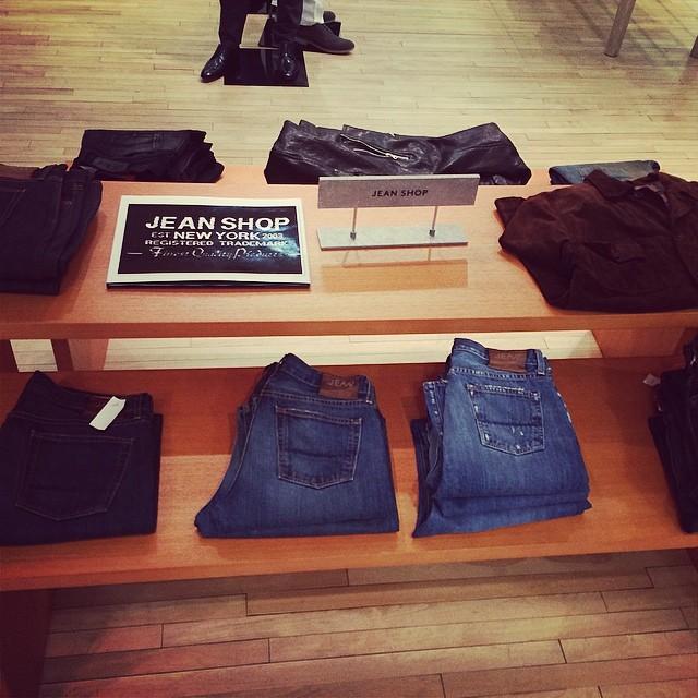 Barney's NYC Jean Shop. #barneysnyc #barneys #jeanshop #jeans #shop #fashion #selvedge #4thfloor #leatherjacket #rawdenim #madeinusa #beautiful #denim
