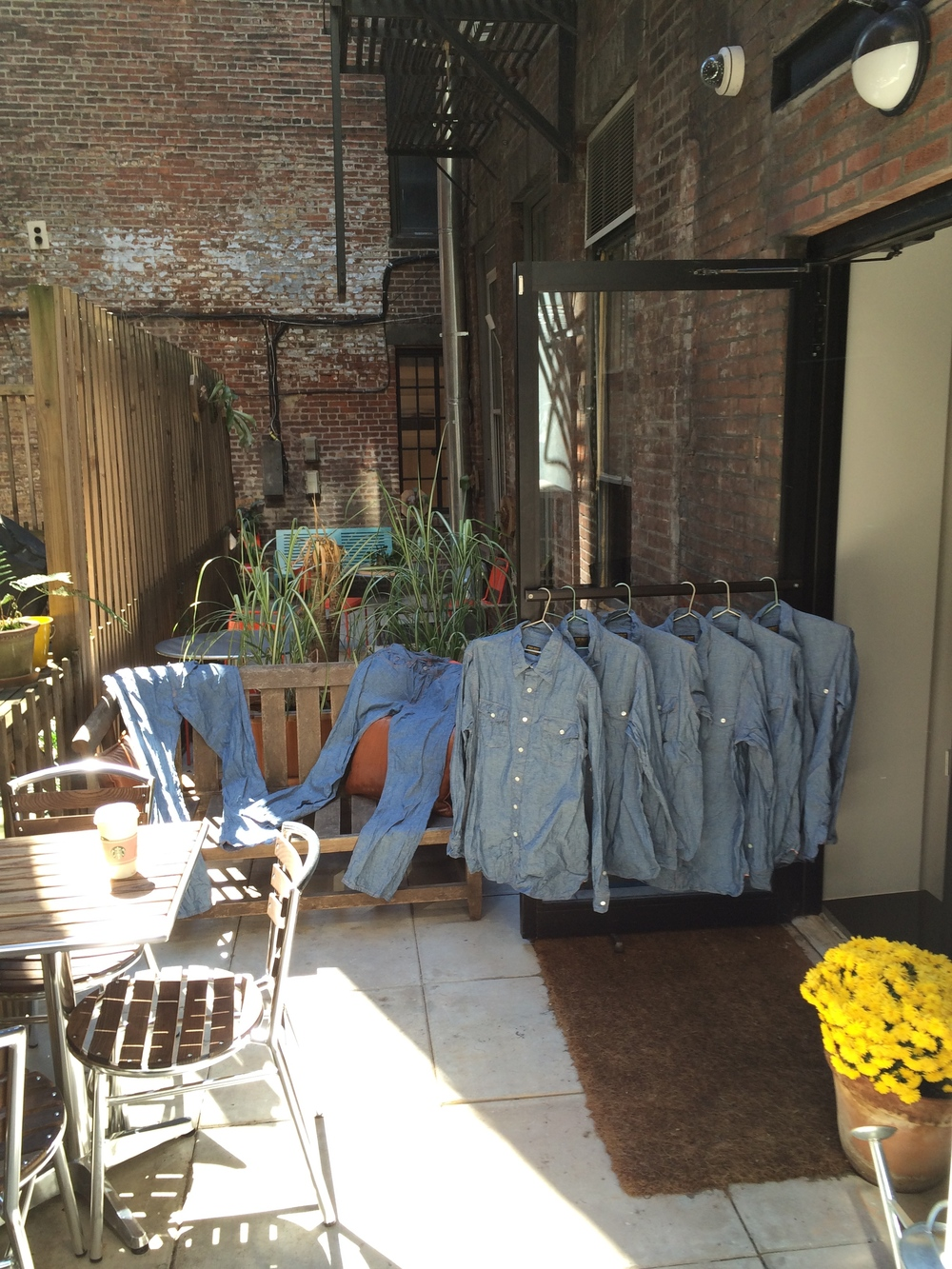 Stop in and hang out in our backyard. You your friends and some chambray shirts and pants