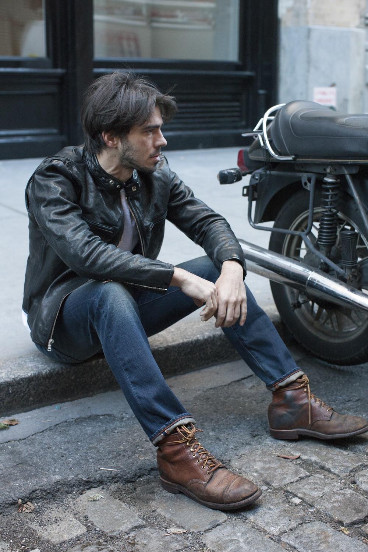 Mens black denim and leather jacket