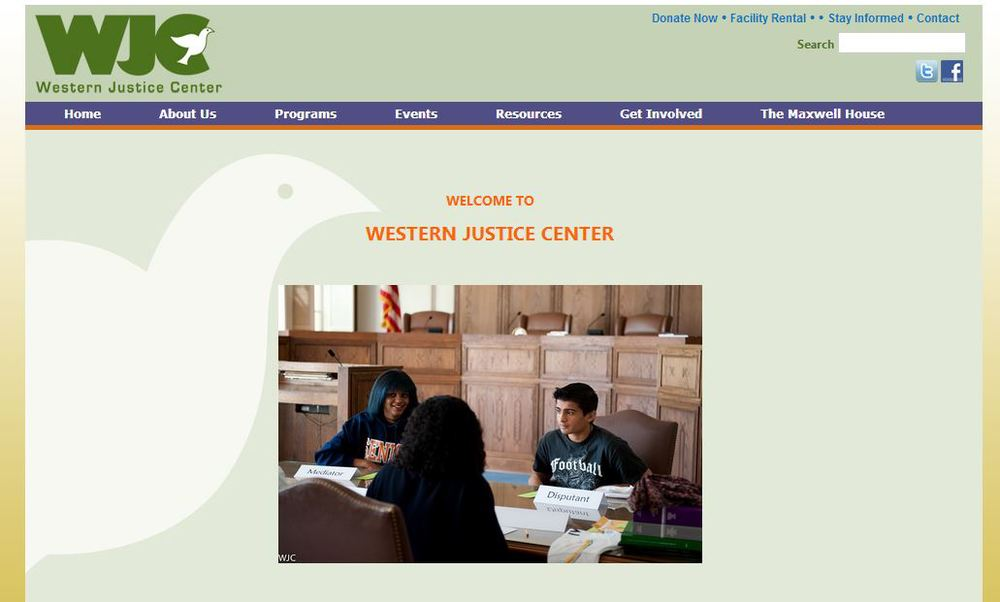 Previous westernjustice.org homepage.