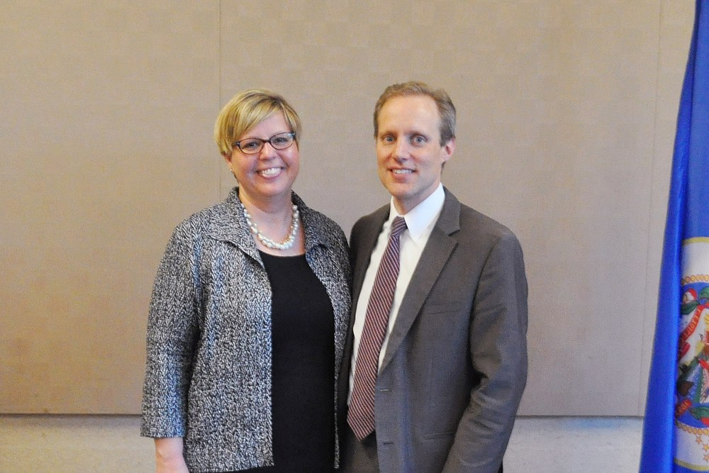 Melinda Hugdahl and Secretary Steve Simon