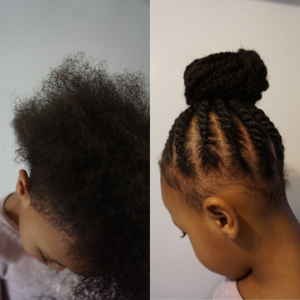 Before: No hair added After: Kinky hair added