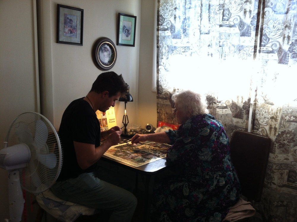 Me and my Grandma. She is the most famous person within my family. And probably the most famous on her street... and possibly the post office in her town. We ripped that puzzle to shit…and then re assembled it like pros.