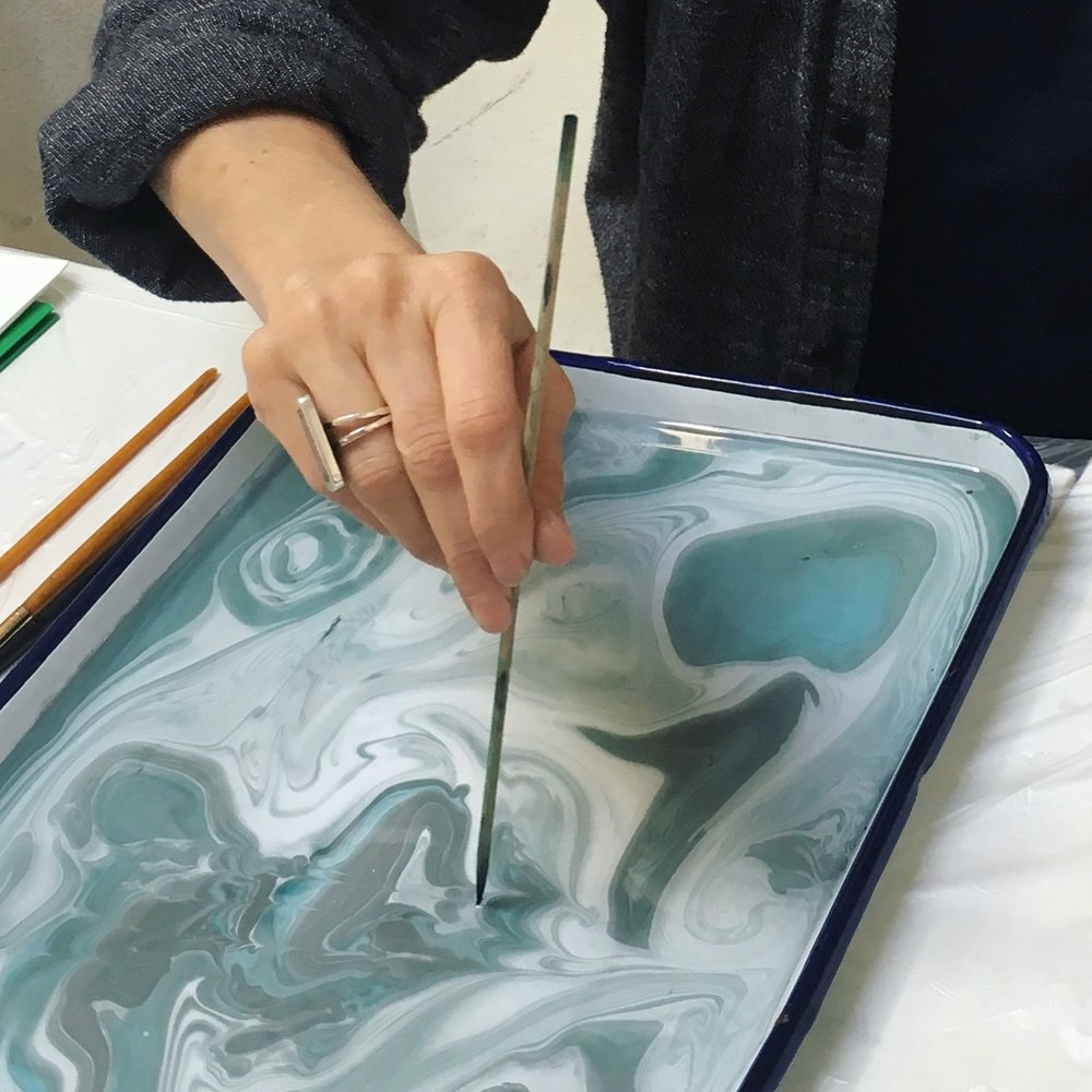 I spent more time swirling ink on water than actually dipping paper in... loved the movement.
