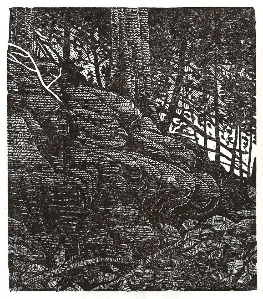 Relief print, pen & ink,  2014