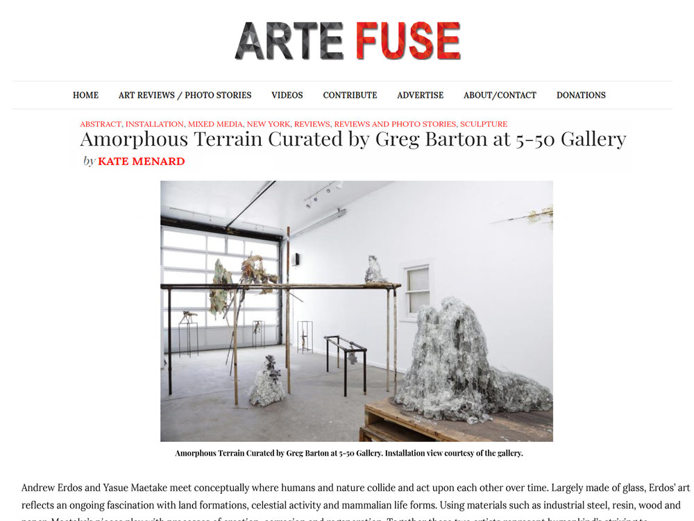 "PRESS:  ARTE FUSE, by Menard, Kate. ""Amorphous Terrain Curated by Greg Barton at 5-50 Gallery"", March 21, 2019"