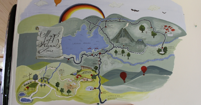 Hand-painted map of the area around Essence Arenal.