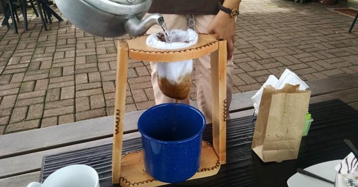 Coffee brewed via chorreador.