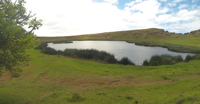 The crater lake at Rano Raraku, one of three crater lakes on the island.