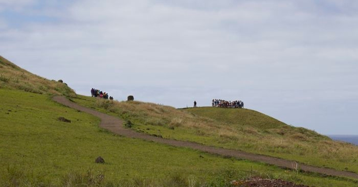 As we left, the crowds started to build at Rano Raraku.