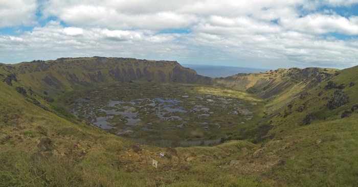 The former volcanic crater of Rano Kau