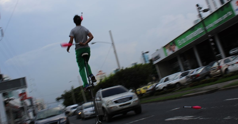 Unicycling Juggler in Panama