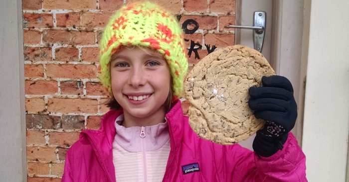 Jackie shows off her giant cookie.