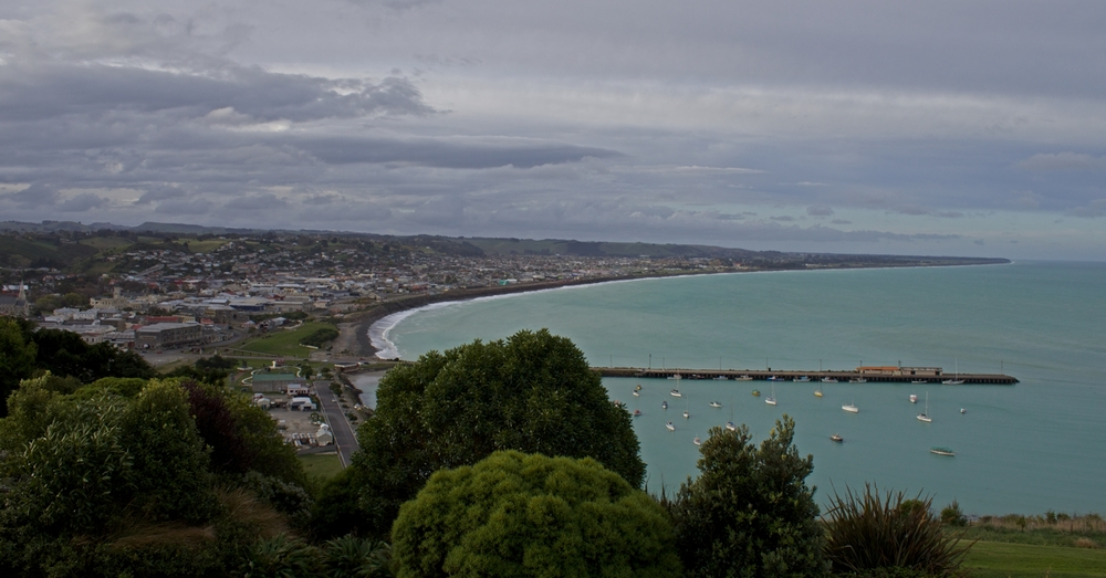 Oamaru overlook. The blue penguin colony is below to the right (slightly out of frame).
