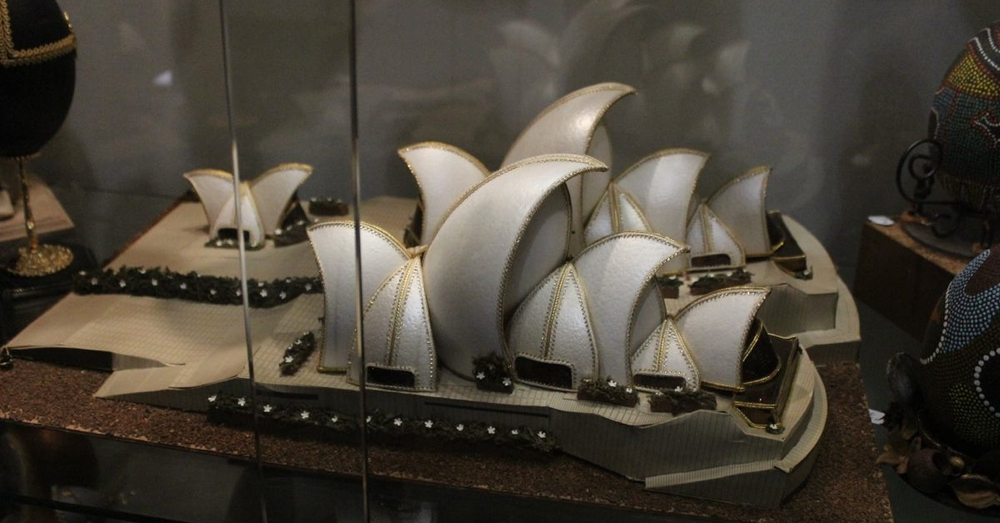 The Sydney Opera House recreated with eggshells from different types of eggs.