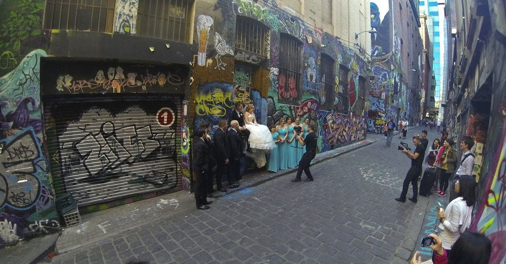 Bridal photographs in Hosier Lane.