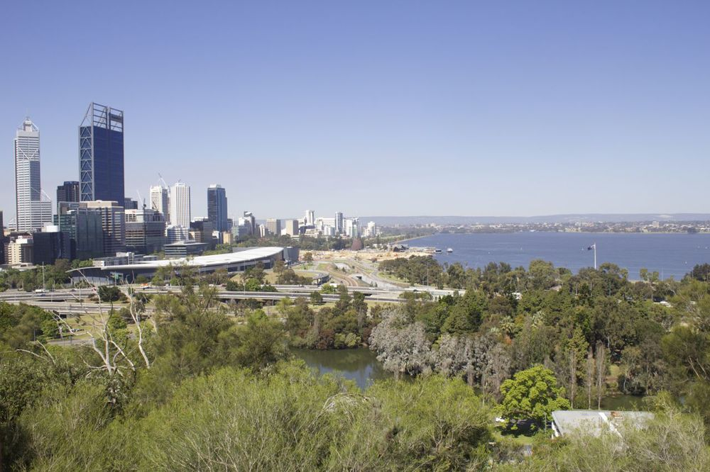 Perth CBD and the Swan River, looking out from the Bali Memorial.