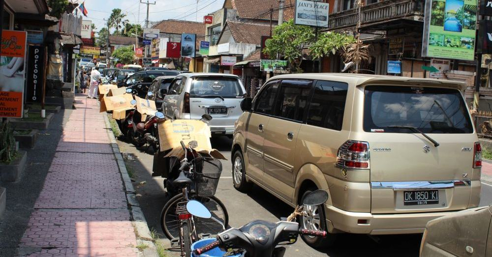 Parking spaces are hard to come by in Ubud.
