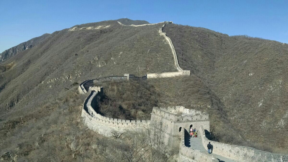 The Great Wall of China, tower 16 in the foreground. We climbed to tower 21 at the top of the ridge.