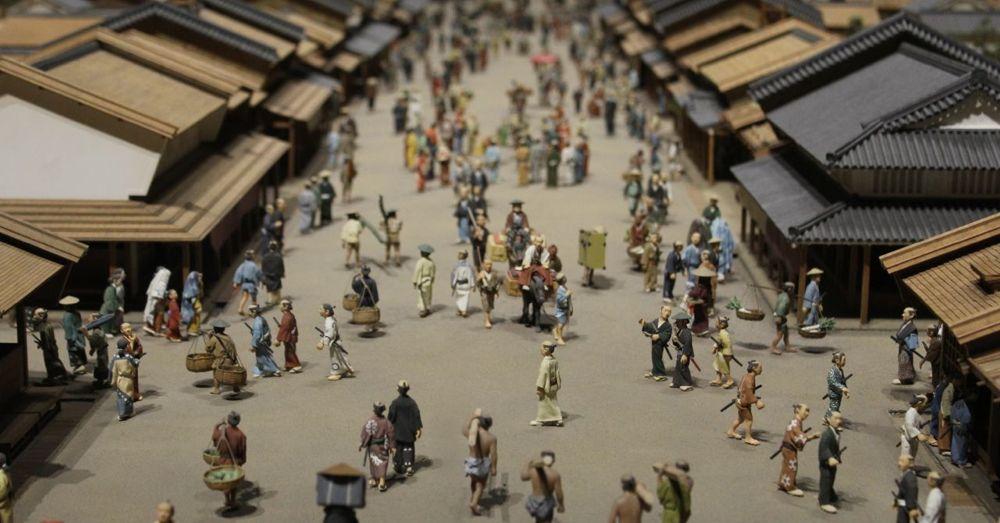 A replica of a street in old Edo.