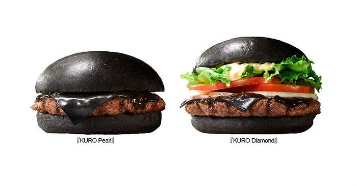 Product shots of the Kuro Pearl and Kuro Diamond from Burger King Japan.
