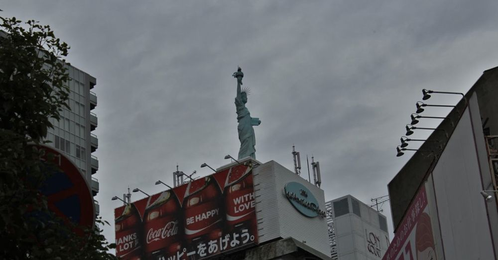 Lady Liberty stands watch over America Town.