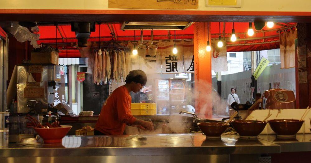 Serving up the ramen.