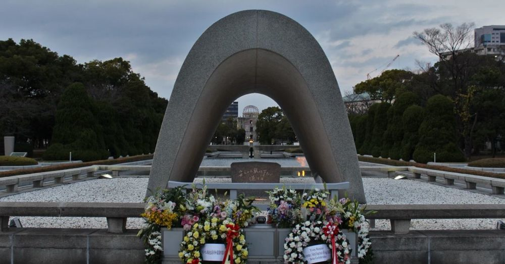 Arch with Cenotaph, Peace Flame, A-Bomb Dome.