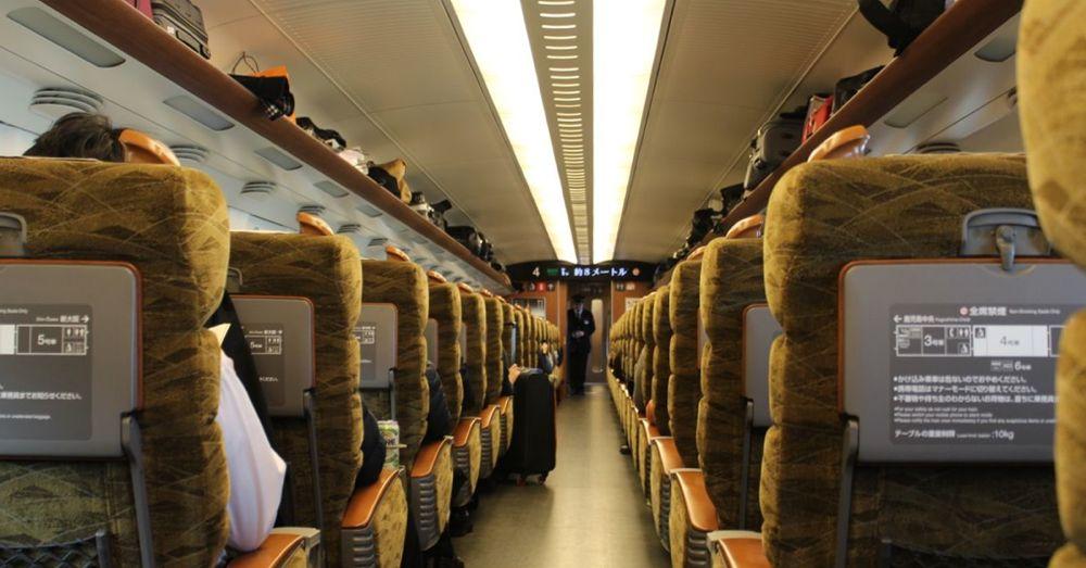 Inside a bullet train.